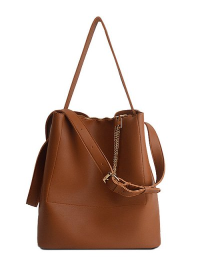 Concise Chains PU Leather Shoulder Bag - BROWN  Mobile