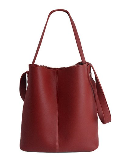 Concise Chains PU Leather Shoulder Bag - RED  Mobile