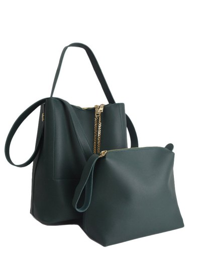 Concise Chains PU Leather Shoulder Bag - GREEN  Mobile