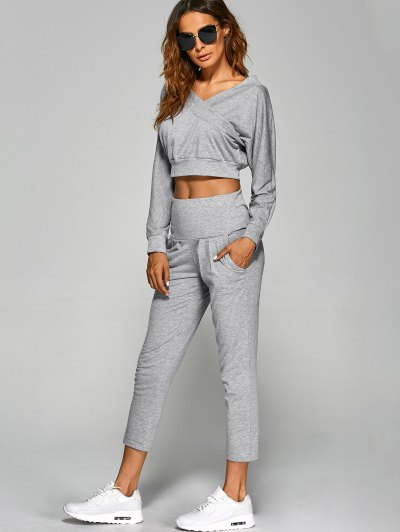 V Neck Back Cutout Crop Top With Pants - GRAY L Mobile