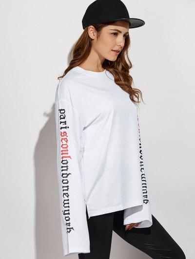 Letter Patterned Sweatshirt - WHITE L Mobile