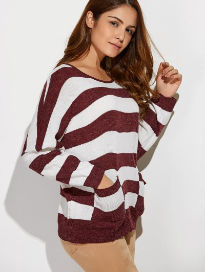 Scoop Neck Striped Pockets Sweater - RED WITH WHITE ONE SIZE Mobile