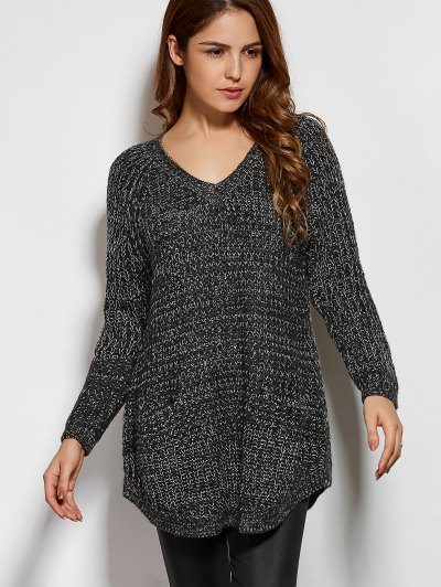 Pockets V Neck Sweater - DEEP GRAY ONE SIZE Mobile