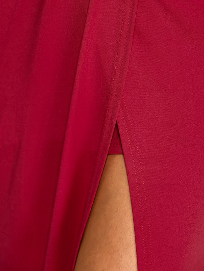 Plunging Neck Cut Out High Slit Maxi Dress - WINE RED XL Mobile