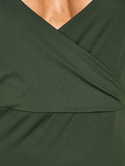 Back Criss High Slit Surplice Maxi Slip Dress - ARMY GREEN XL Mobile