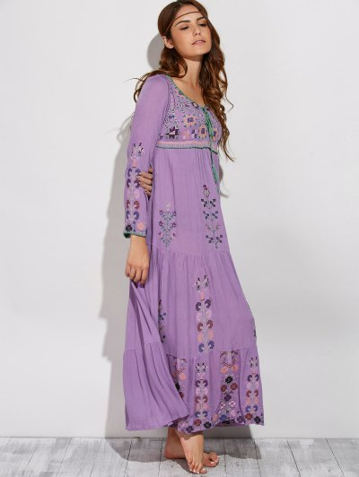 Scoop Neck Embroidered Swing Maxi Dress - PURPLE L Mobile