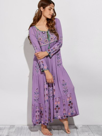 Scoop Neck Embroidered Swing Maxi Dress - PURPLE M Mobile