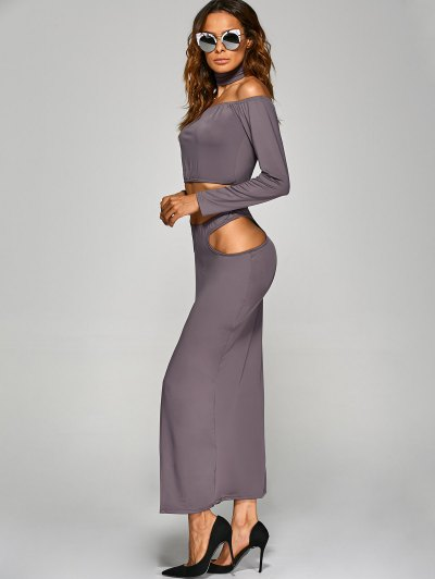 Crop Top With Front Slit Cut Out Skirt - GRAY S Mobile
