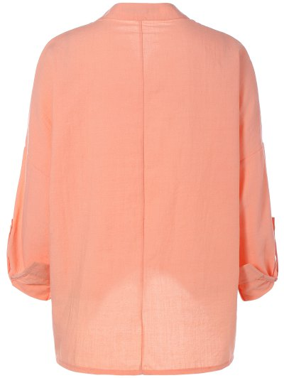 High Low Chiffon Blouse - NUDE PINK L Mobile