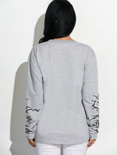 Crew Neck Graphic Sleeve Sweatshirt - LIGHT GRAY L Mobile