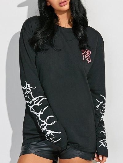 Crew Neck Graphic Sleeve Sweatshirt - BLACK L Mobile