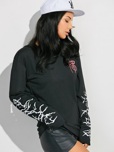 Crew Neck Graphic Sleeve Sweatshirt - BLACK M Mobile