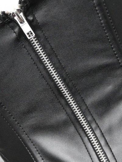 Faux Leather Lace Up Lace Corset Top - BLACK 2XL Mobile