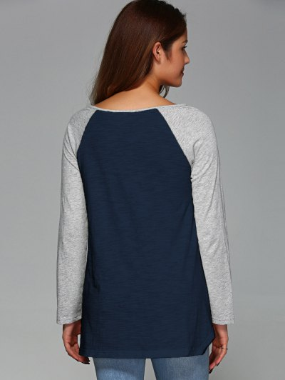 Raglan Sleeve Asymmetrical Tee - PURPLISH BLUE L Mobile