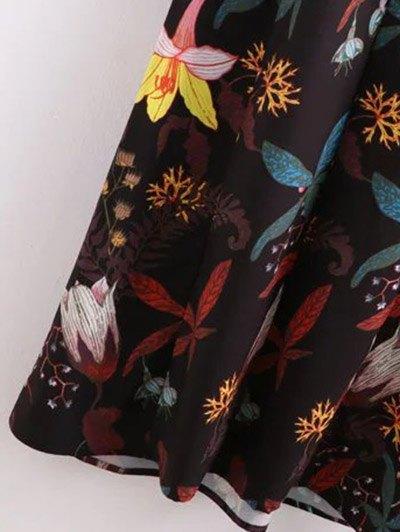 High Neck Printed Ruffled Maxi Dress - COLORMIX L Mobile