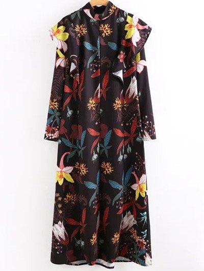 High Neck Printed Ruffled Maxi Dress - COLORMIX M Mobile