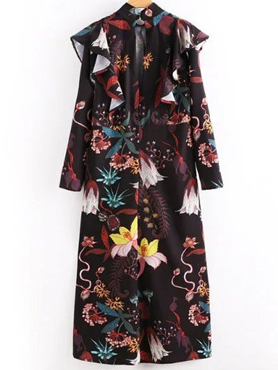High Neck Printed Ruffled Maxi Dress - COLORMIX S Mobile