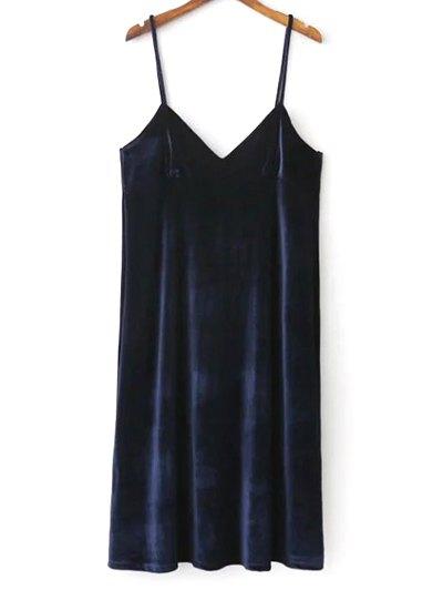 Velvet Cami Slip Dress - PURPLISH BLUE M Mobile