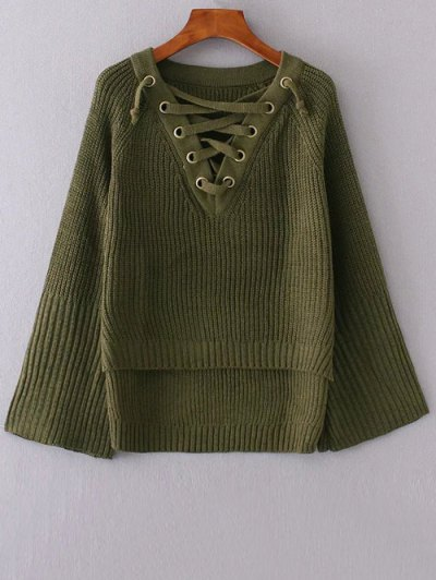 High Low Lace Up Sweater - GREEN ONE SIZE Mobile