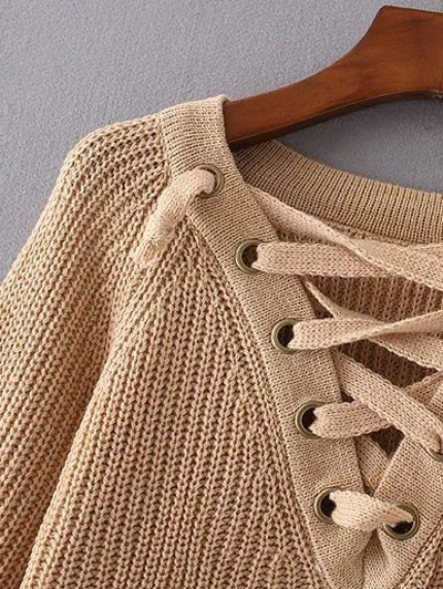 High Low Lace Up Sweater - CRYSTAL CREAM ONE SIZE Mobile