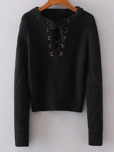 Round Neck Lace Up Jumper - BLACK ONE SIZE Mobile