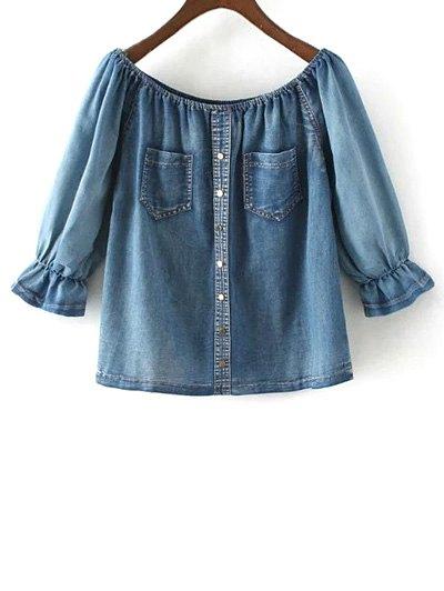 Off The Shoulder Pockets Jean Blouse - DENIM BLUE L Mobile