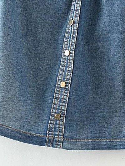 Off The Shoulder Pockets Jean Blouse - DENIM BLUE S Mobile