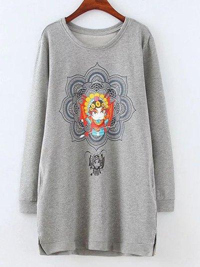 Opera Mask Print Plus Size Sweatshirt - GRAY XL Mobile