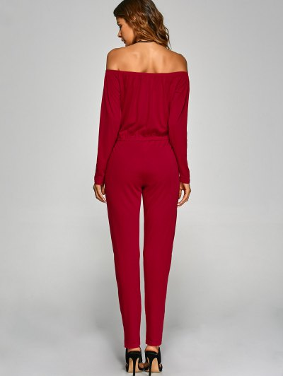 Off Shoulder Long Sleeve Cut Out Jumpsuit - RED XL Mobile