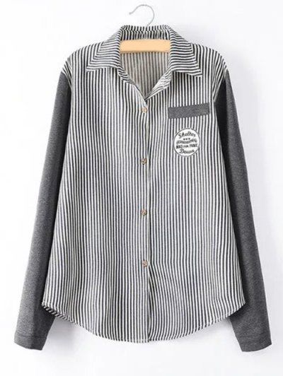 Striped Knit Spliced Shirt - BLACK 2XL Mobile