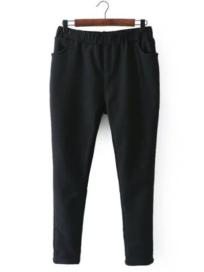 Casual Fleece Narrow Feet Pants - BLACK 2XL Mobile