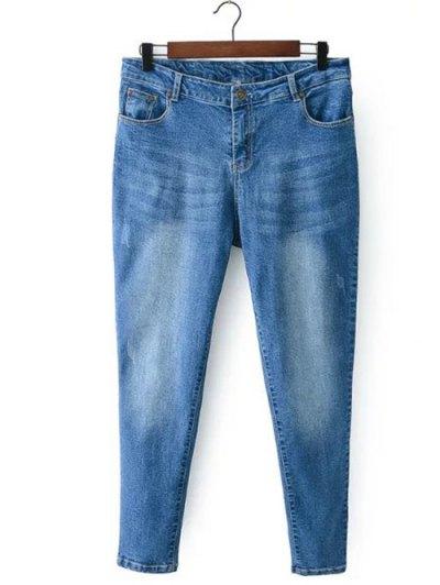 Bleach Wash Zip Fly Denim Pants - LIGHT BLUE 4XL Mobile