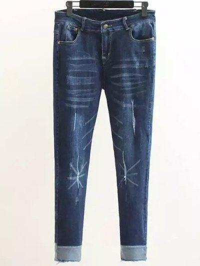 Scratch Zip Fly Denim Pants - DENIM BLUE XL Mobile