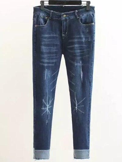 Scratch Zip Fly Denim Pants - DENIM BLUE 3XL Mobile