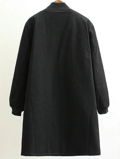 Stand Neck Letter Embroidered Cotton Linen Coat - BLACK 3XL Mobile