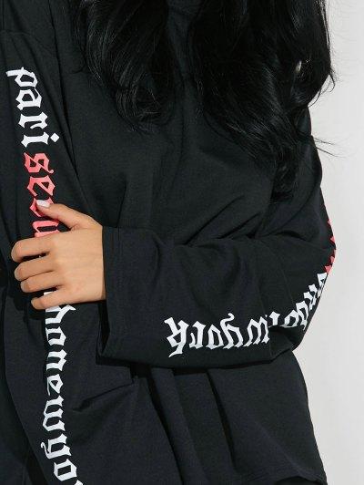 Letter Graphic Sleeve Sweatshirt - BLACK L Mobile