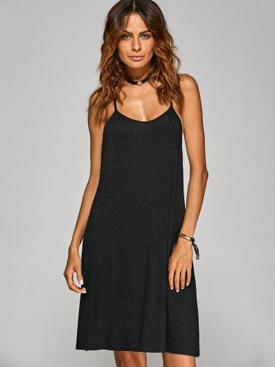 Racerback Cami Dress - BLACK L Mobile