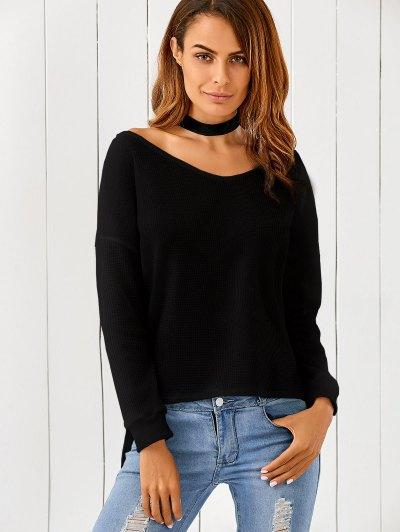 Loose One-Shoulder Sweater - Black