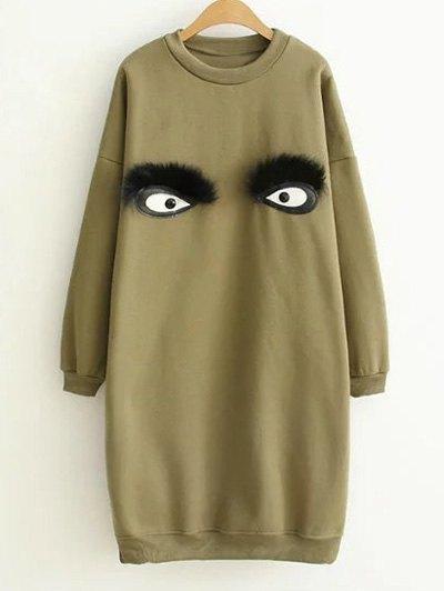 Eye Pattern Sweatshirt Dress - GREEN ONE SIZE Mobile