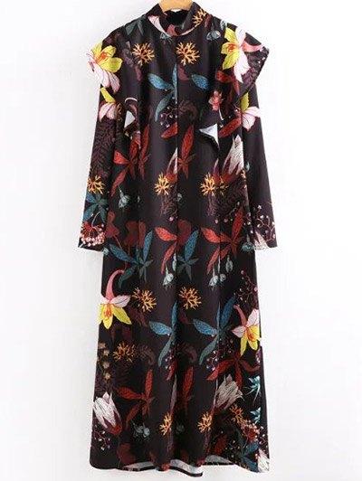Long Sleeve Printed Frilled Maxi Dress