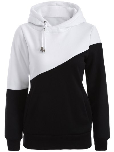 Casual Color Block Hoodie - WHITE AND BLACK S Mobile