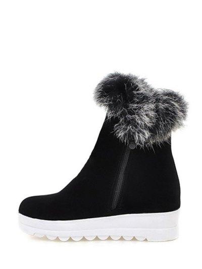Faux Fur Platform Short Boots - BLACK 39 Mobile