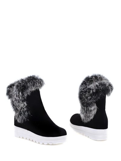 Faux Fur Platform Short Boots - BLACK 37 Mobile
