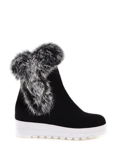 Faux Fur Platform Short Boots - BLACK 38 Mobile