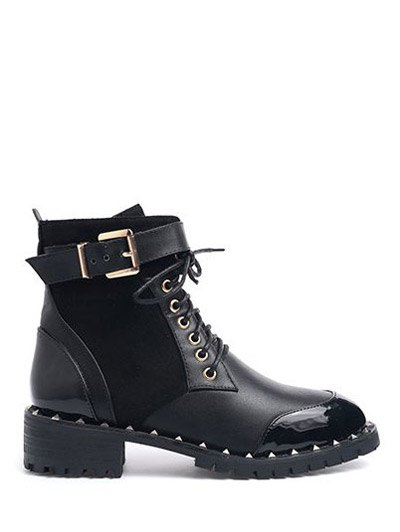 Tie Up Splicing Rivets Ankle Boots - BLACK 37 Mobile