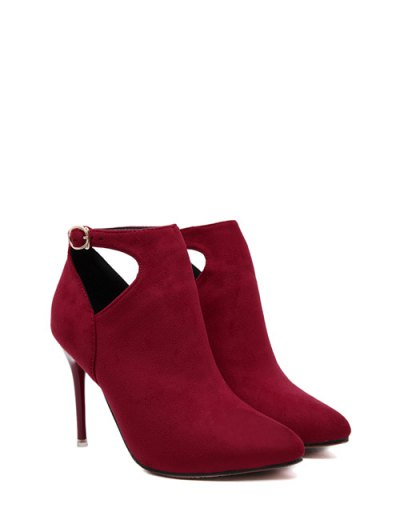 Hollow Out Flock Stiletto Heel Ankle Boots - RED 38 Mobile