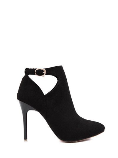 Hollow Out Flock Stiletto Heel Ankle Boots - BLACK 37 Mobile