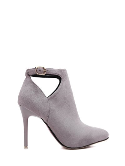 Hollow Out Flock Stiletto Heel Ankle Boots - LIGHT GRAY 39 Mobile