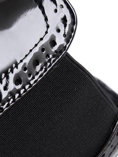 Engraving Elastic Band Platform Ankle Boots - BLACK 37 Mobile