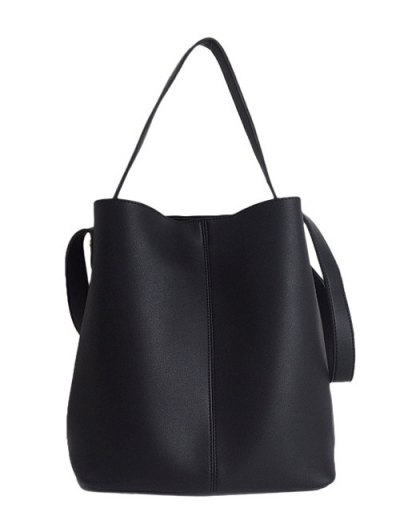 Concise Chains PU Leather Shoulder Bag - BLACK  Mobile